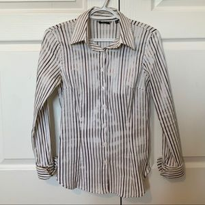 Zara Basic White Striped Button Up size M